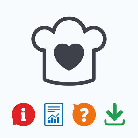 restaurant questions: Chef hat sign icon. Cooking symbol. Cooks hat with heart love. Information think bubble, question mark, download and report. Illustration