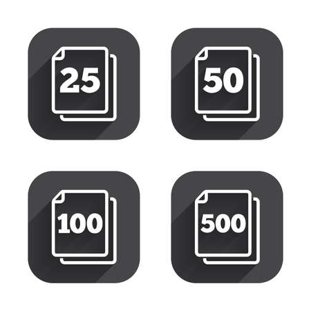 quantity: In pack sheets icons. Quantity per package symbols. 25, 50, 100 and 500 paper units in the pack signs. Square flat buttons with long shadow.