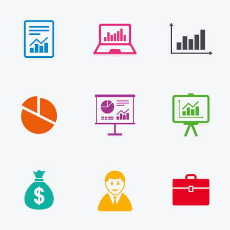 business case: Statistics, accounting icons. Charts, presentation and pie chart signs. Analysis, report and business case symbols. Flat colored graphic icons. Illustration