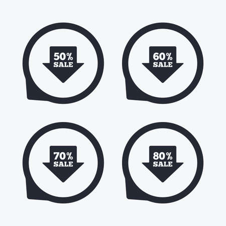 70 80: Sale arrow tag icons. Discount special offer symbols. 50%, 60%, 70% and 80% percent sale signs. Flat icon pointers.