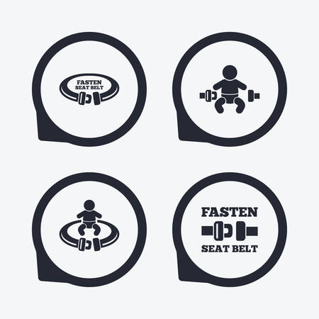 to fasten: Fasten seat belt icons. Child safety in accident symbols. Vehicle safety belt signs. Flat icon pointers. Illustration