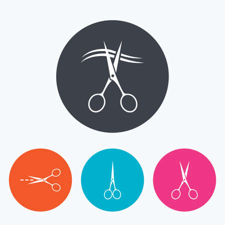 scissors cut: Scissors icons. Hairdresser or barbershop symbol. Scissors cut hair. Cut dash dotted line. Tailor symbol. Circle flat buttons with icon.