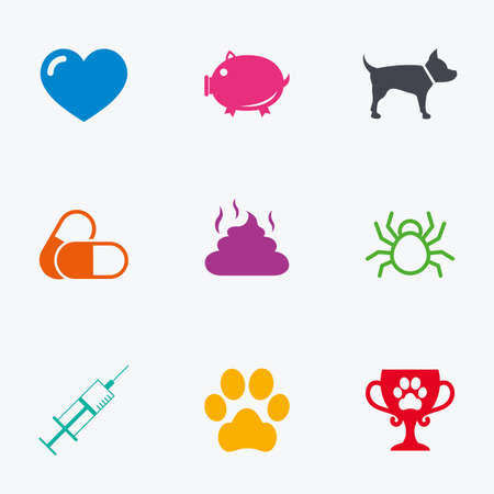 feces: Veterinary, pets icons. Dog paw, syringe and winner cup signs. Pills, heart and feces symbols. Flat colored graphic icons.
