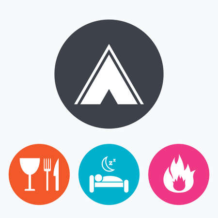 breakfast in bed: Food, sleep, camping tent and fire icons. Knife, fork and wineglass. Hotel or bed and breakfast. Road signs. Circle flat buttons with icon.