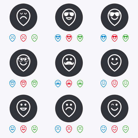 wink: Smile pointers icons. Happy, sad and wink faces signs. Sunglasses, mustache and laughing lol smiley symbols. Flat circle buttons with icons.