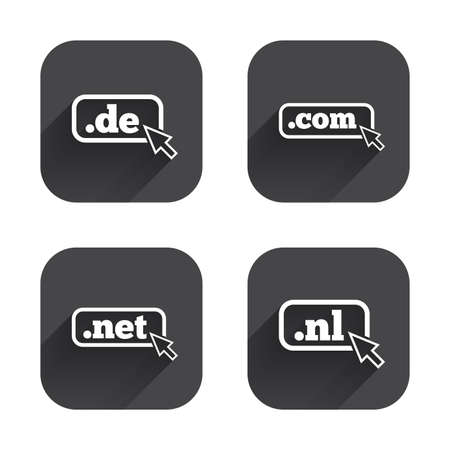 nl: Top-level internet domain icons. De, Com, Net and Nl symbols with cursor pointer. Unique national DNS names. Square flat buttons with long shadow.