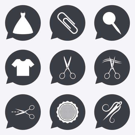 canva: Tailor, sewing and embroidery icons. Scissors, safety pin and needle signs. Shirt and dress symbols. Flat icons in speech bubble pointers.