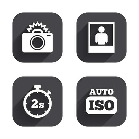 seconds: Photo camera icon. Flash light and Auto ISO symbols. Stopwatch timer 2 seconds sign. Human portrait photo frame. Square flat buttons with long shadow.