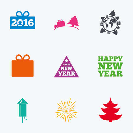 salut: Christmas, new year icons. Gift box, fireworks signs. Santa bag, salut and rocket symbols. Flat colored graphic icons.