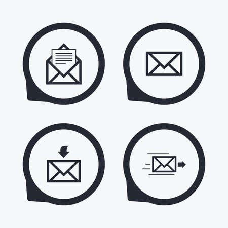 outbox: Mail envelope icons. Message document delivery symbol. Post office letter signs. Inbox and outbox message icons. Flat icon pointers.