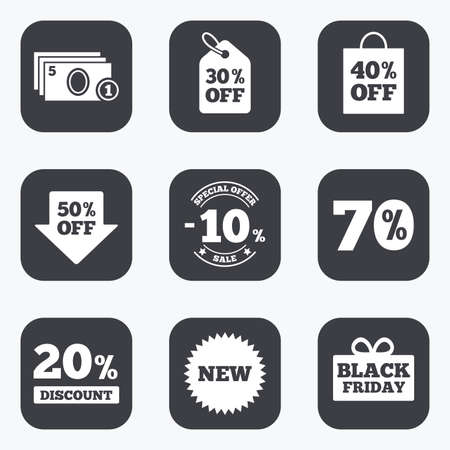 thirty percent off: Sale discounts icon. Shopping, black friday and cash money signs. 10, 20, 50 and 70 percent off. Special offer symbols. Flat square buttons with rounded corners.