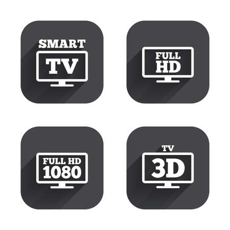 full hd: Smart TV mode icon. Widescreen symbol. Full hd 1080p resolution. 3D Television sign. Square flat buttons with long shadow.
