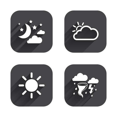 long night: Weather icons. Moon and stars night. Cloud and sun signs. Storm or thunderstorm with lightning symbol. Square flat buttons with long shadow.