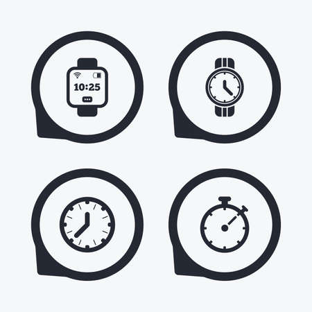 digital timer: Smart watch icons. Mechanical clock time, Stopwatch timer symbols. Wrist digital watch sign. Flat icon pointers.