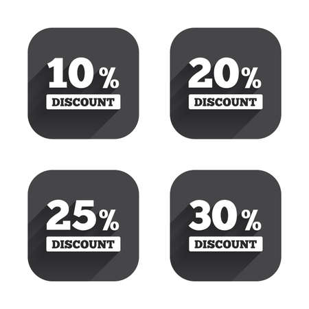 20 to 25: Sale discount icons. Special offer price signs. 10, 20, 25 and 30 percent off reduction symbols. Square flat buttons with long shadow.