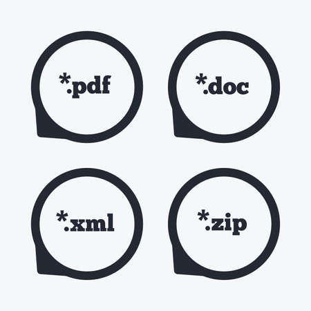 extensions: Document icons. File extensions symbols. PDF, ZIP zipped, XML and DOC signs. Flat icon pointers.
