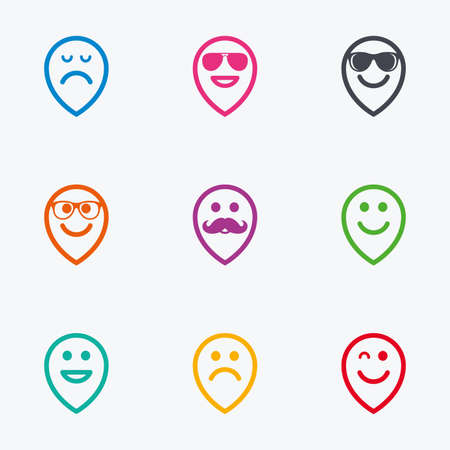 sorrowful: Smile pointers icons. Happy, sad and wink faces signs. Sunglasses, mustache and laughing lol smiley symbols. Flat colored graphic icons.