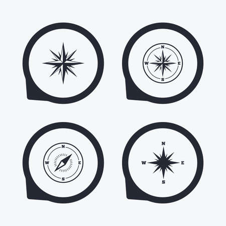 coordinate: Windrose navigation icons. Compass symbols. Coordinate system sign. Flat icon pointers.