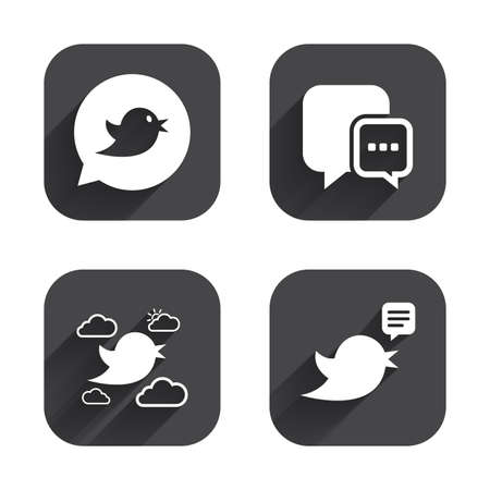 three dots: Birds icons. Social media speech bubble. Chat bubble with three dots symbol. Square flat buttons with long shadow.