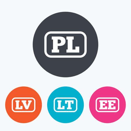 lt: Language icons. PL, LV, LT and EE translation symbols. Poland, Latvia, Lithuania and Estonia languages. Circle flat buttons with icon.