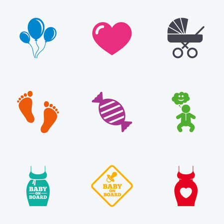 maternity: Pregnancy, maternity and baby care icons. Newborn, strollers and pacifier signs. Footprint, candy and love symbols. Flat colored graphic icons.