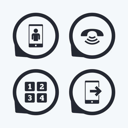 video call: Phone icons. Smartphone video call sign. Call center support symbol. Cellphone keyboard symbol. Flat icon pointers. Illustration