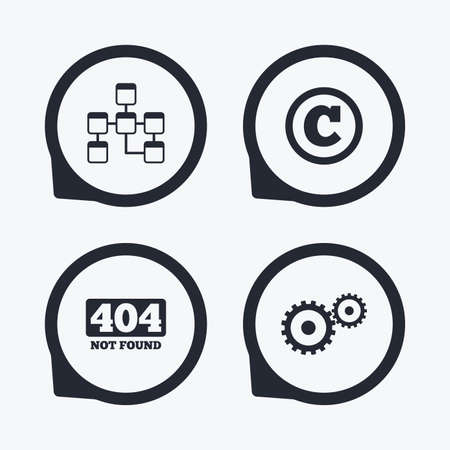 copyrights: Website database icon. Copyrights and gear signs. 404 page not found symbol. Under construction. Flat icon pointers. Illustration