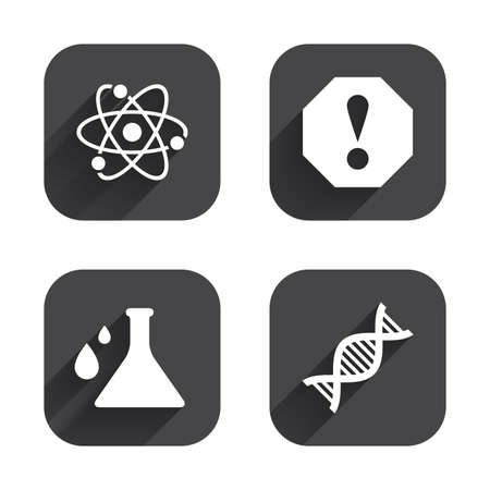caution chemistry: Attention and DNA icons. Chemistry flask sign. Atom symbol. Square flat buttons with long shadow.