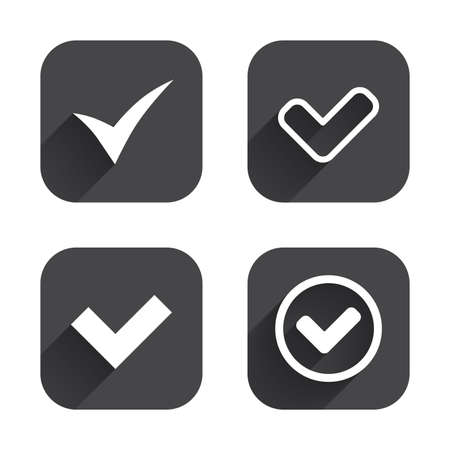 confirm: Check icons. Checkbox confirm circle sign symbols. Square flat buttons with long shadow.