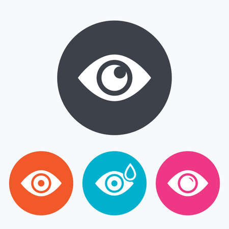 red eye: Eye icons. Water drops in the eye symbols. Red eye effect signs. Circle flat buttons with icon.