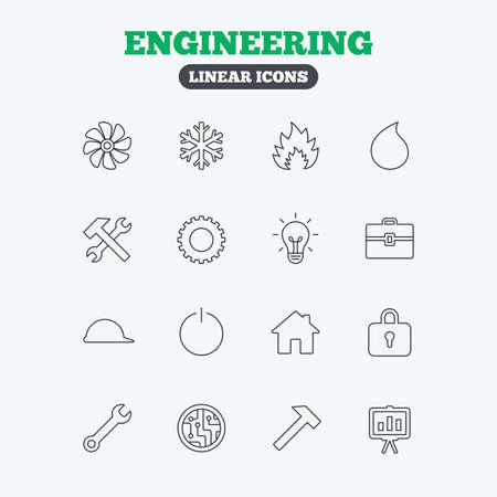 Engineering icons. Ventilation, heat and air conditioning symbols. Water supply, repair service and circuit board thin outline signs. Lamp, house and locker. Linear icons on white background. Stock Vector - 49992829
