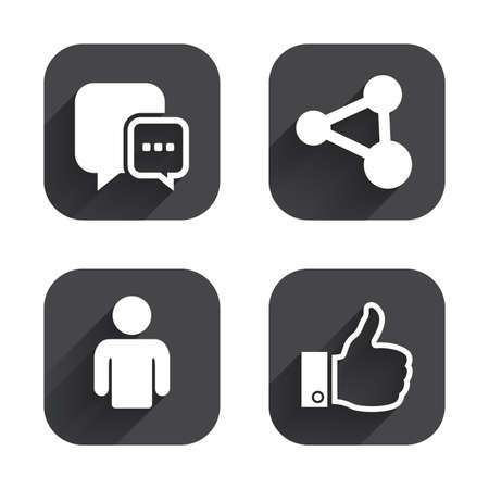 link up: Social media icons. Chat speech bubble and Share link symbols. Like thumb up finger sign. Human person profile. Square flat buttons with long shadow.