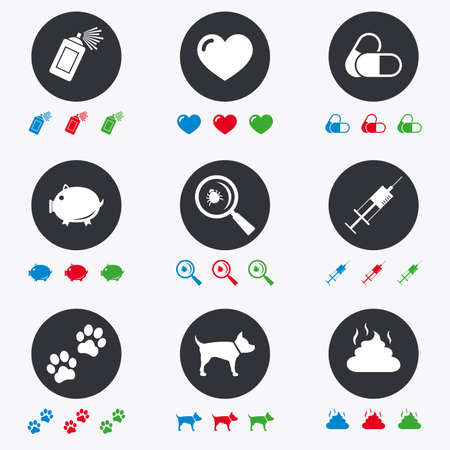feces: Veterinary, pets icons. Dog paws, syringe and magnifier signs. Pills, heart and feces symbols. Flat circle buttons with icons. Illustration