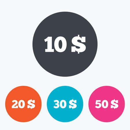20 30: Money in Dollars icons. 10, 20, 30 and 50 USD symbols. Money signs Circle flat buttons with icon. Illustration