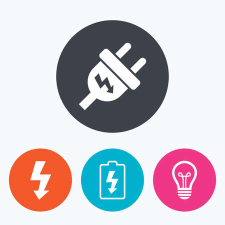 electric bulb: Electric plug icon. Lamp bulb and battery symbols. Low electricity and idea signs. Circle flat buttons with icon.
