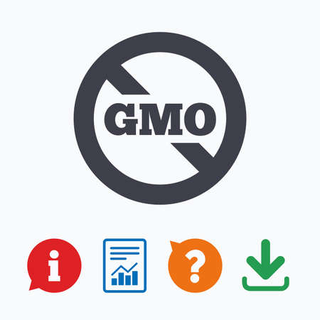 modified: No GMO sign icon. Without Genetically modified food. Stop GMO. Information think bubble, question mark, download and report.