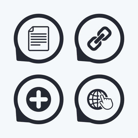 hyperlink: Plus add circle and hyperlink chain icons. Document file and globe with hand pointer sign symbols. Flat icon pointers. Illustration