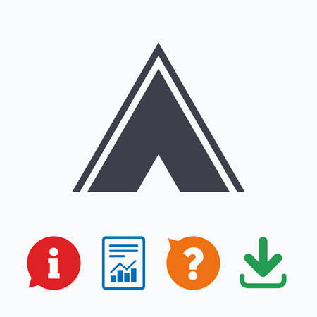 tourist information: Tourist tent sign icon. Camping symbol. Information think bubble, question mark, download and report.