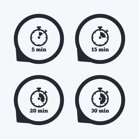 15 20: Timer icons. 5, 15, 20 and 30 minutes stopwatch symbols. Flat icon pointers.