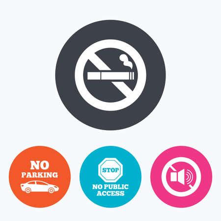 private access: Stop smoking and no sound signs. Private territory parking or public access. Cigarette symbol. Speaker volume. Circle flat buttons with icon. Illustration