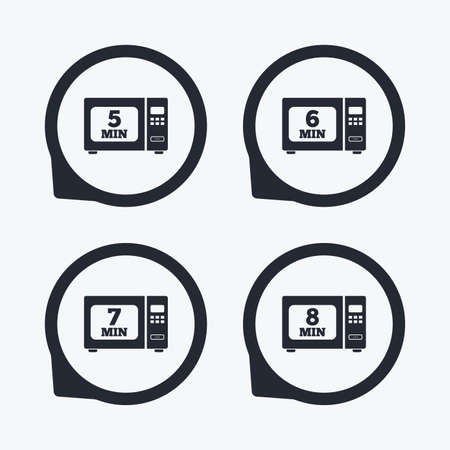 7 8: Microwave oven icons. Cook in electric stove symbols. Heat 5, 6, 7 and 8 minutes signs. Flat icon pointers.