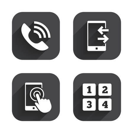 outcoming: Phone icons. Touch screen smartphone sign. Call center support symbol. Cellphone keyboard symbol. Incoming and outcoming calls. Square flat buttons with long shadow.