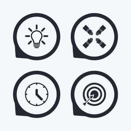 set the intention: Lamp idea and clock time icons. Target aim sign. Darts board with arrow. Teamwork symbol. Flat icon pointers.