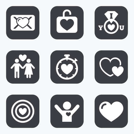 oath: Love, valentine day icons. Target with heart, oath letter and locker symbols. Couple lovers, boyfriend signs. Flat square buttons with rounded corners. Illustration