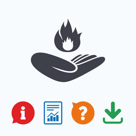 against: Insurance against fire sign icon. Hand holds fire flame symbol. Information think bubble, question mark, download and report. Illustration