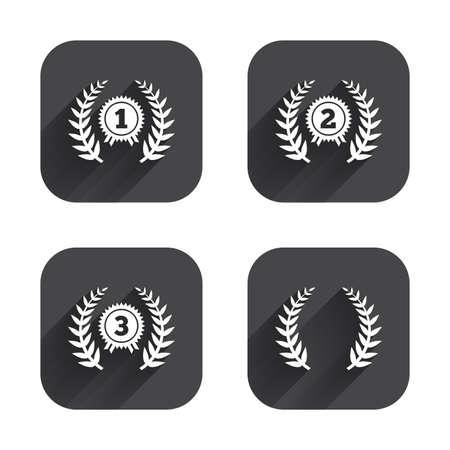 second prize: Laurel wreath award icons. Prize for winner signs. First, second and third place medals symbols. Square flat buttons with long shadow.