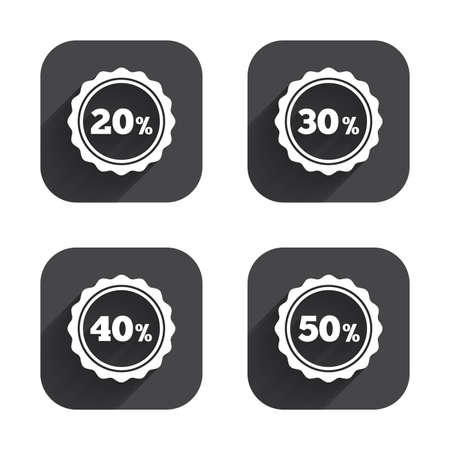 30 to 40: Sale discount icons. Special offer stamp price signs. 20, 30, 40 and 50 percent off reduction symbols. Square flat buttons with long shadow.