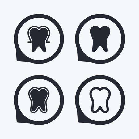 stomatologist: Tooth enamel protection icons. Dental toothpaste care signs. Healthy teeth sign. Flat icon pointers.