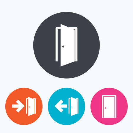 arrow emergency exit: Doors icons. Emergency exit with arrow symbols. Fire exit signs. Circle flat buttons with icon.