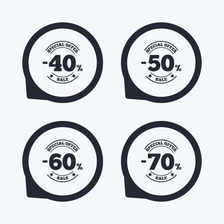 50 to 60: Sale discount icons. Special offer stamp price signs. 40, 50, 60 and 70 percent off reduction symbols. Flat icon pointers. Illustration